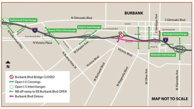 因要拆除Burbank大桥,加州运输局明天下午关闭附近5号高速公路36个小时