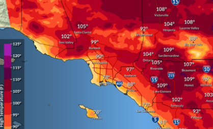 国家气象局周末发布加州热浪警告,棕榈泉气温达到108℉