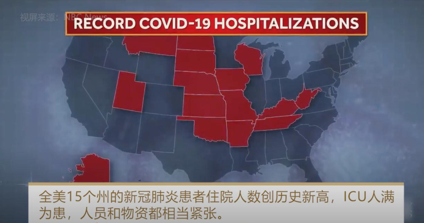 全美15个州的新冠肺炎患者住院人数创历史新高,ICU人满为患