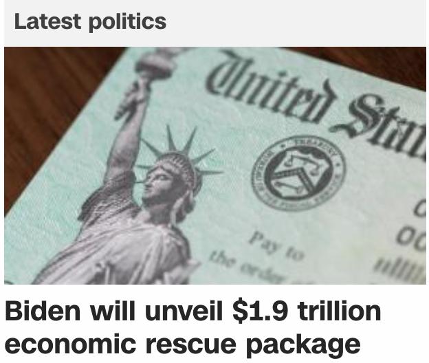 拜登将公布1.9万亿美元新冠救助计划,每人再发$1400!
