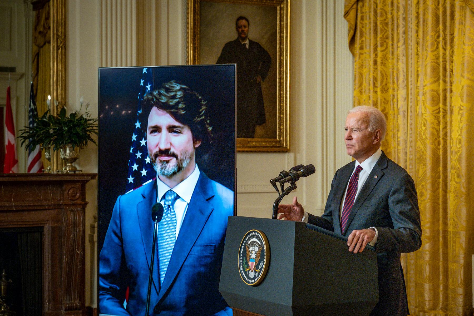 美国总统拜登与加拿大总理特鲁多首次进行视讯会议