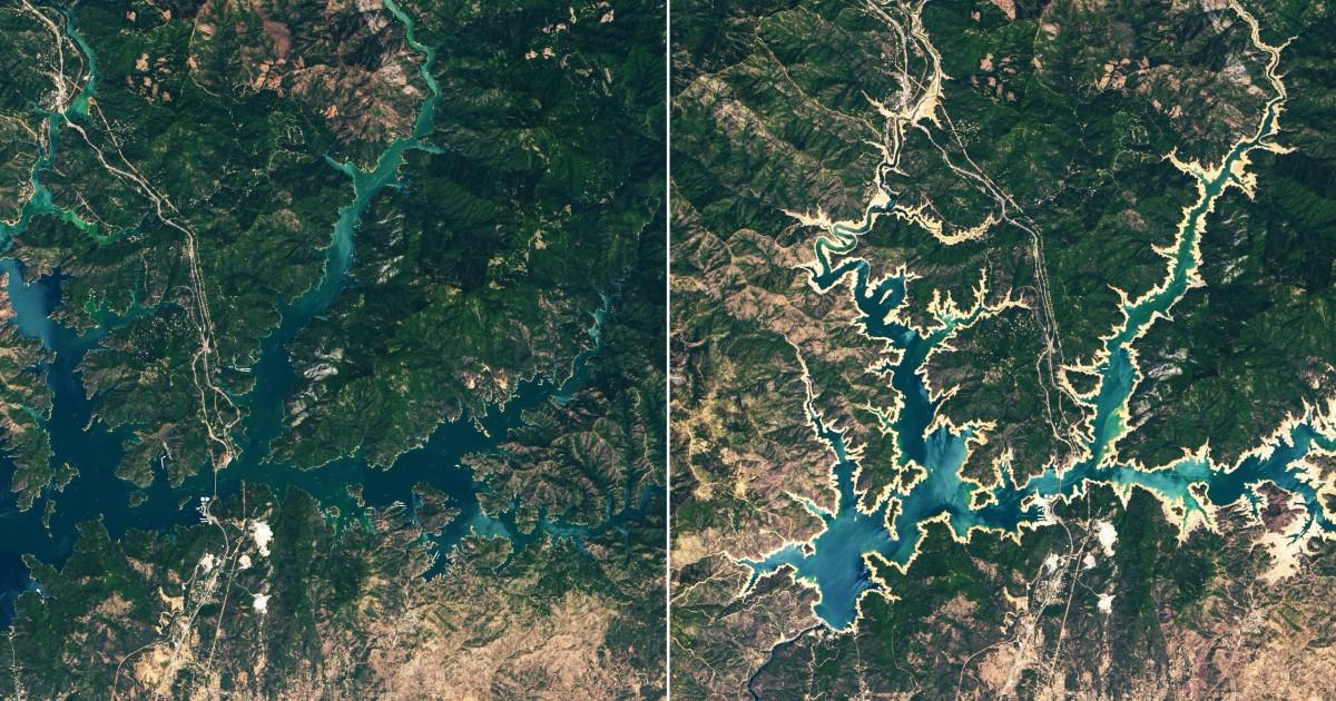 NASA卫星显示加州水库水位大幅度下降