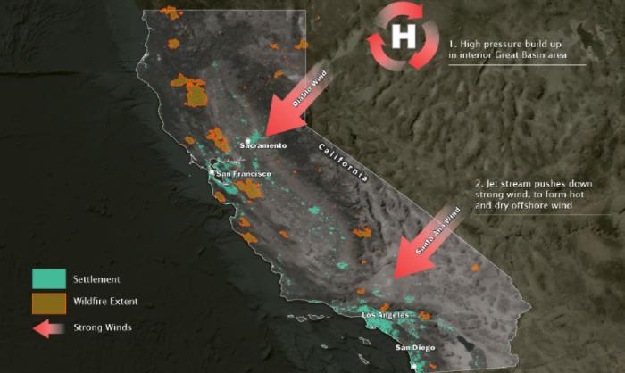 加州多数地区受圣塔安那焚风影响火灾风险上升