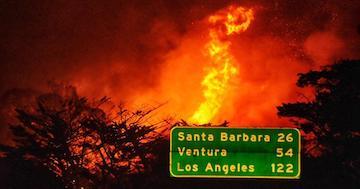 强风助长圣巴巴拉县阿里萨山火!官方发布紧急疏散令,101号公路部分关闭